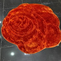 3D Shaggy silk, hand-carved and circular red