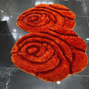 Two shaggy silk and two roses with some 3D red hand-engraving